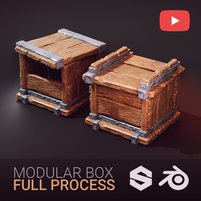 Full Process Video - Stylised Modular Wooden Box | Blender & Substance
