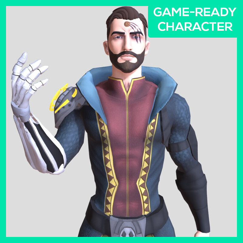 Wizard Male Character - Game-ready - Rigged