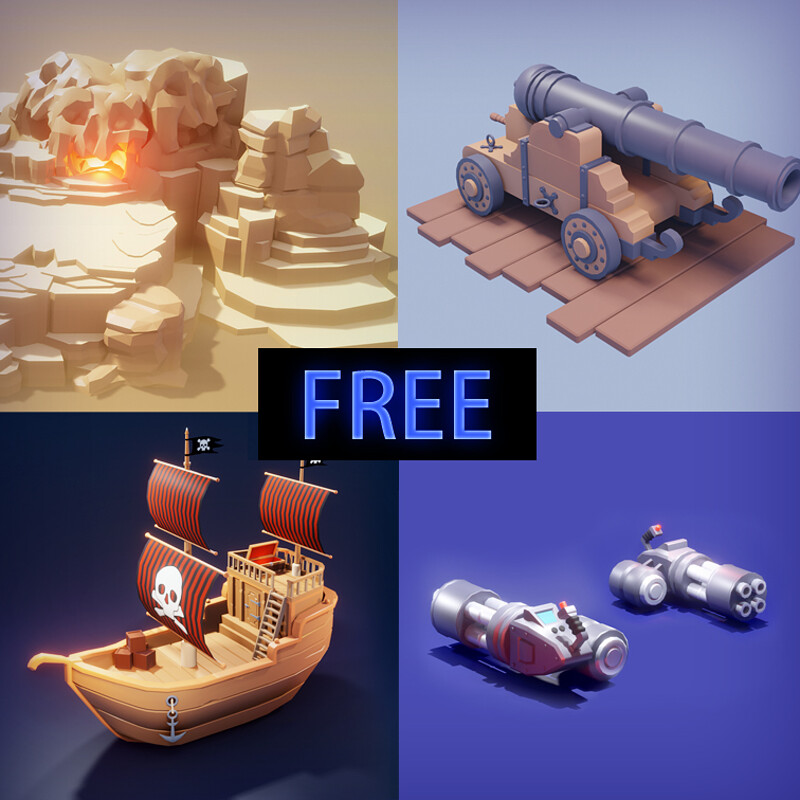 [Free to Download] Model bundle pack - .blend files | 3d Game Models | Low Poly Art