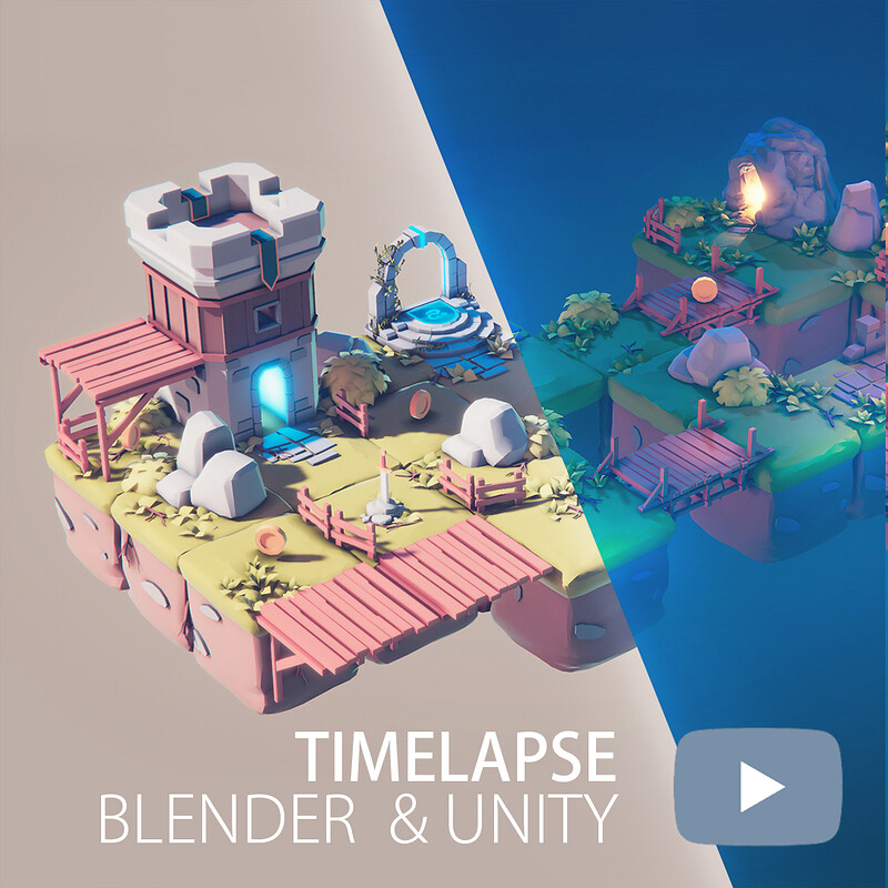[Timelapse]  Simple Day & Night Low Poly Scenes in Blender & Unity |  Rendered in Unity HDRP