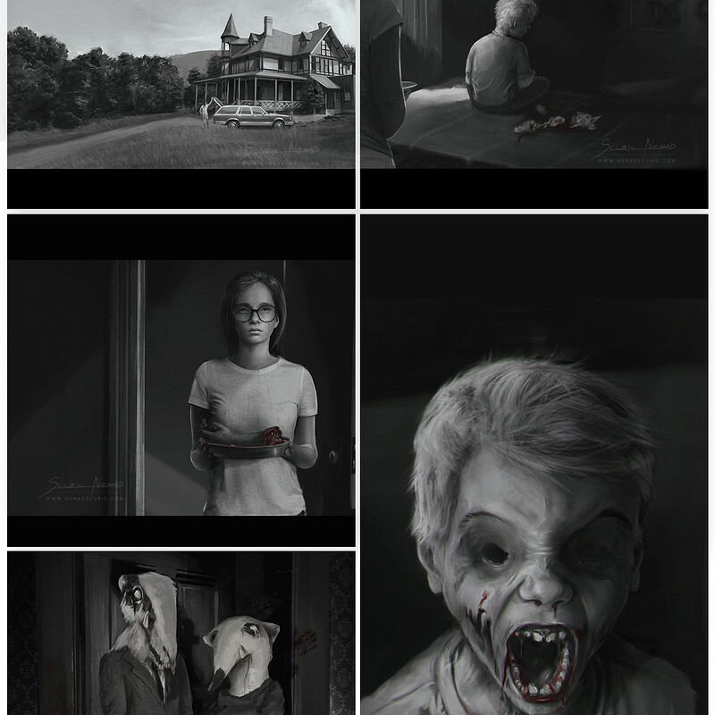 Key scenes produced for a horror theme storyboard - Speed painting + photobashing.
