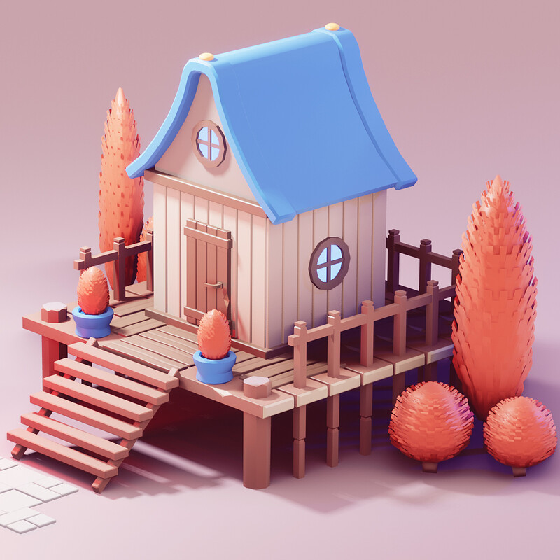 Low Poly Hut in Blender 2.90 | 3d Game Asset | Blender Speed Model | Low poly game asset