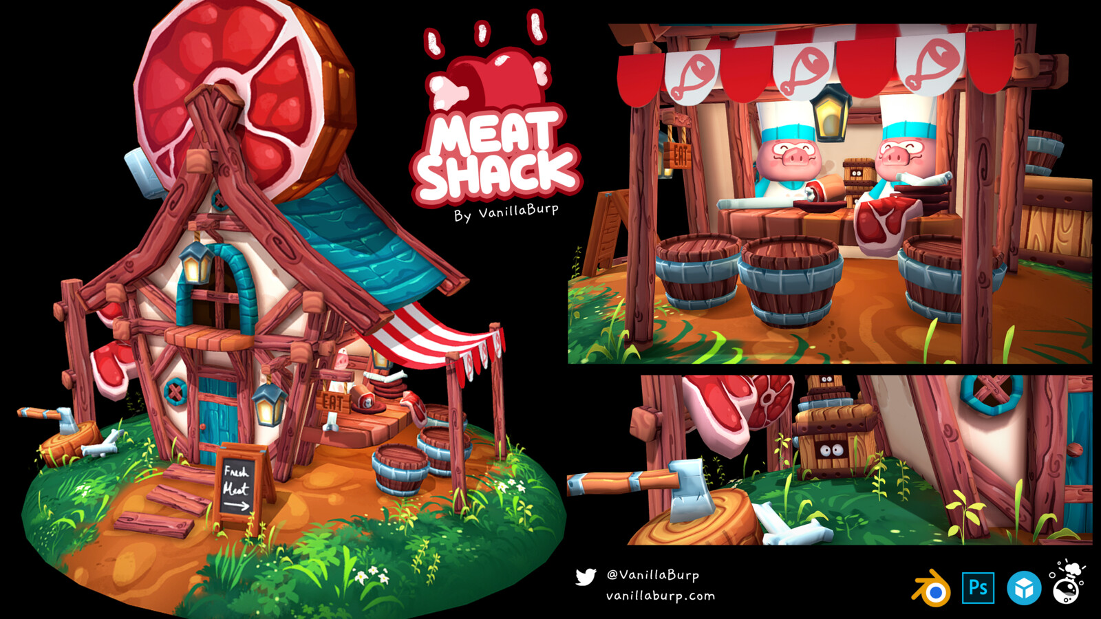 Stylized Meat Shack 3D Model