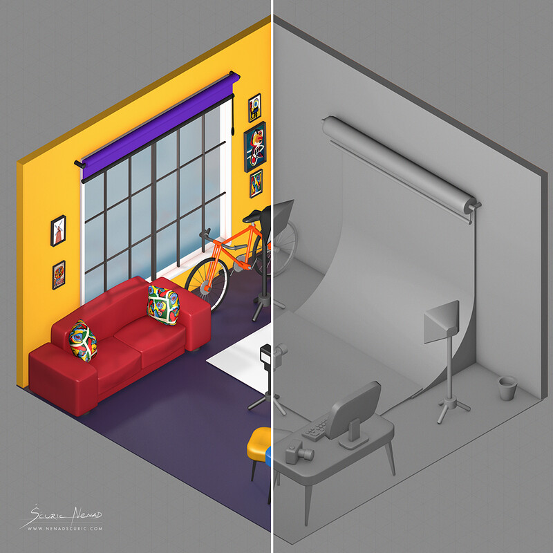 Isometric 3D modeling with subtle overpainting done with Photoshop.