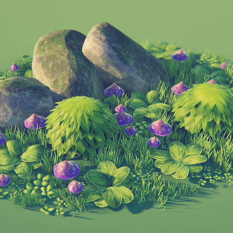 Game-ready Foliage & Rock | 3d Game Design | 3d Plants ( Game-ready Vegetation)
