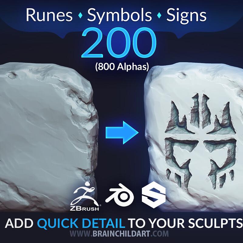 VOL. 3 - 200 Runes, Signs & Symbols (800 Alpha Textures) Zbrush, Blender, Substance...