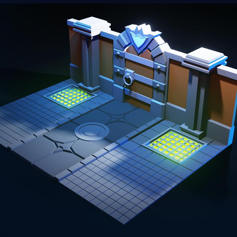 Timelapse | 3d Modeling Modular LOW POLY DUNGEON in Blender 2.90 | Blender Modeling | Game Asset
