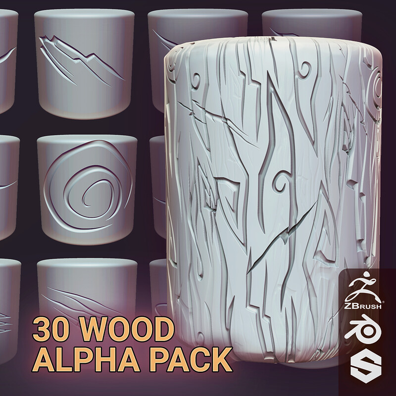 30 Stylised Clean WOOD (ALPHA PACK) - 5 Styles 150 Alpha Textures (.PSD, 2048x2048, 16bit)