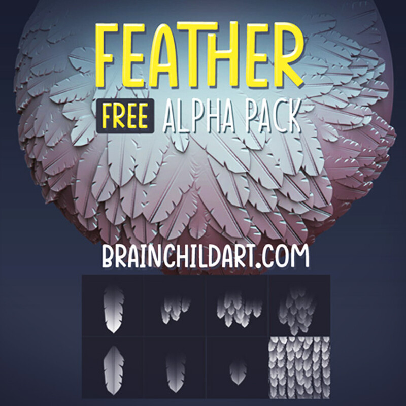 (FREE) Stylised FEATHER Alpha Pack | Alpha Textures for Zbrush, Blender & Substance | 3d Resource