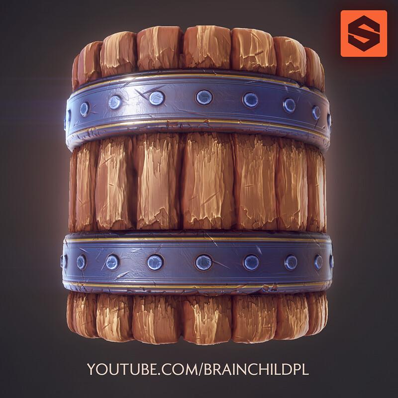 Substance Designer (Process) VIDEOS - Stylised Mug, Barrel, Wood, Lava Floor, Metal, Rooftile, Brick