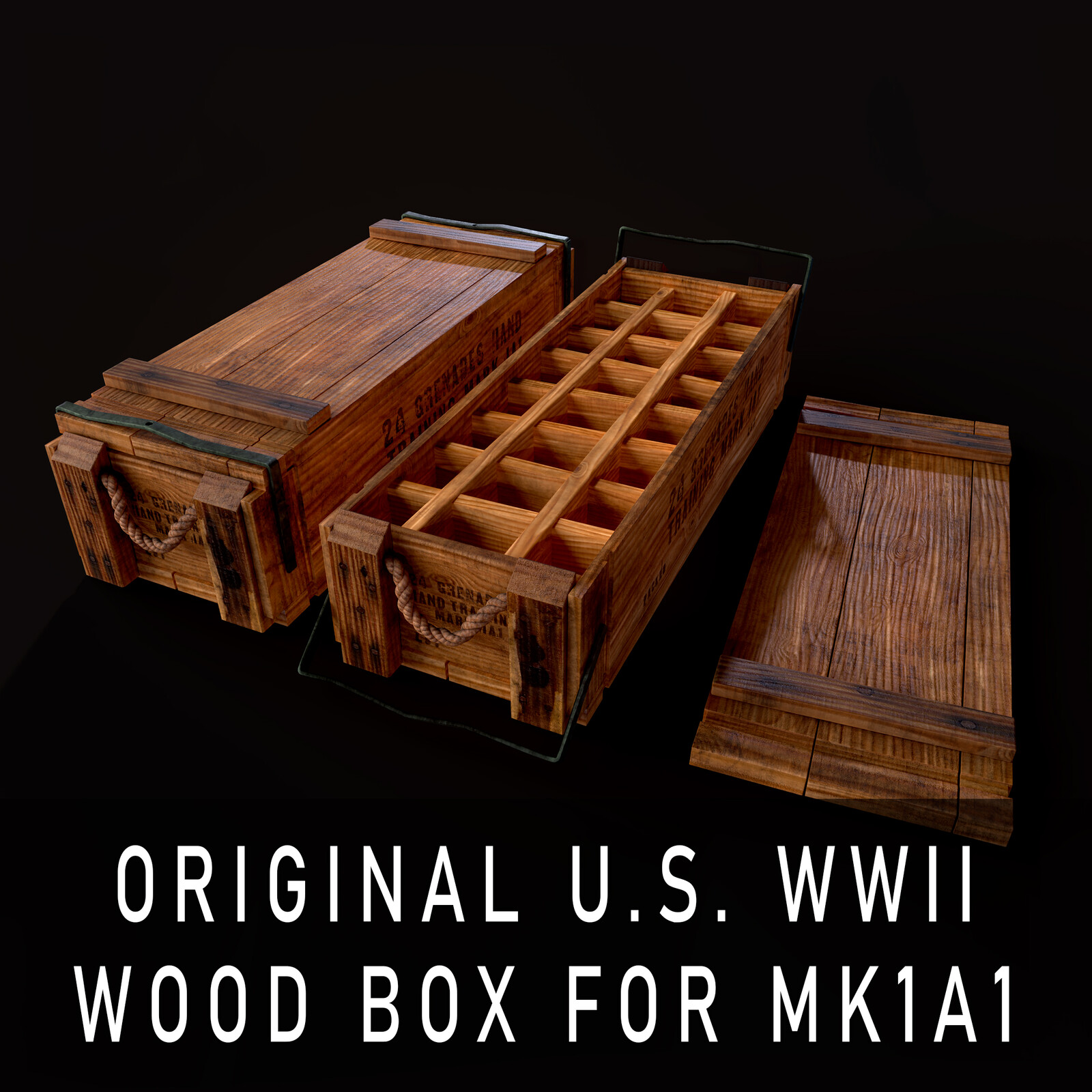 Original U.S. WWII Wood Box for MK1A1 Grenades