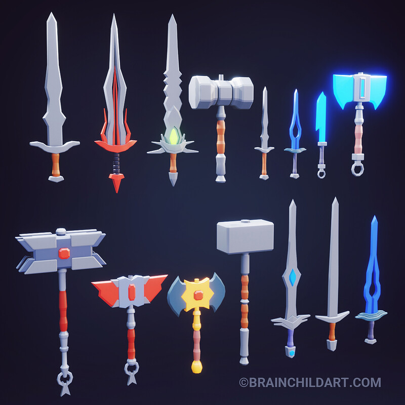 (Full process) 24 Low Poly Weapons - 3d Low Poly Sword, Hammer, Axe | Fantasy Weapons in Blender