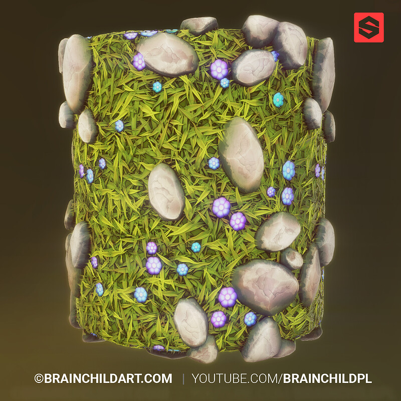 (Substance Designer) Fantasy PBR Grass & Rocks Floor Texture &  (Blender to Unity ) Modular Medieval
