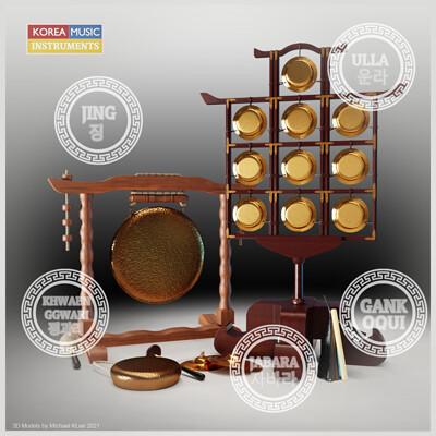 Michael klee michael klee jing khwaenggwari jabara ulla gankoqui korea percussion 3d models by michael klee