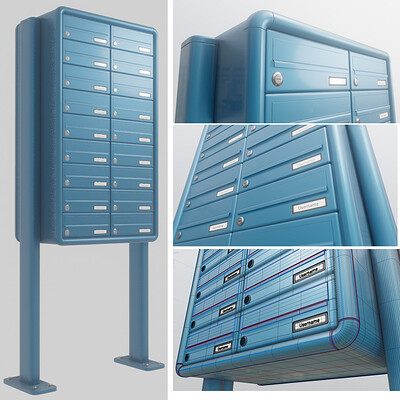 Dennis haupt 3dhaupt dennis haupt 3dhaupt apartment block mailbox 1 high poly modeled by 3dhaupt in blender 2 91