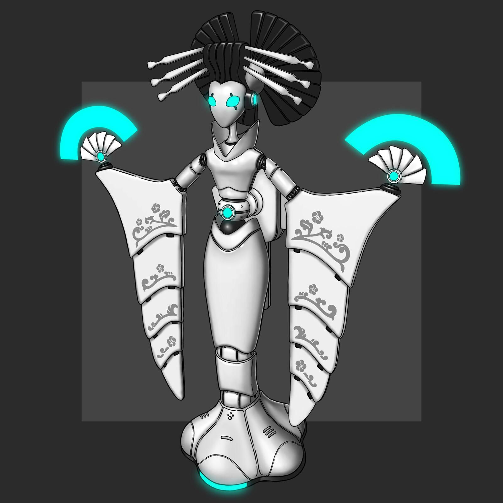 Cyberpunk Onnagata Mech Design