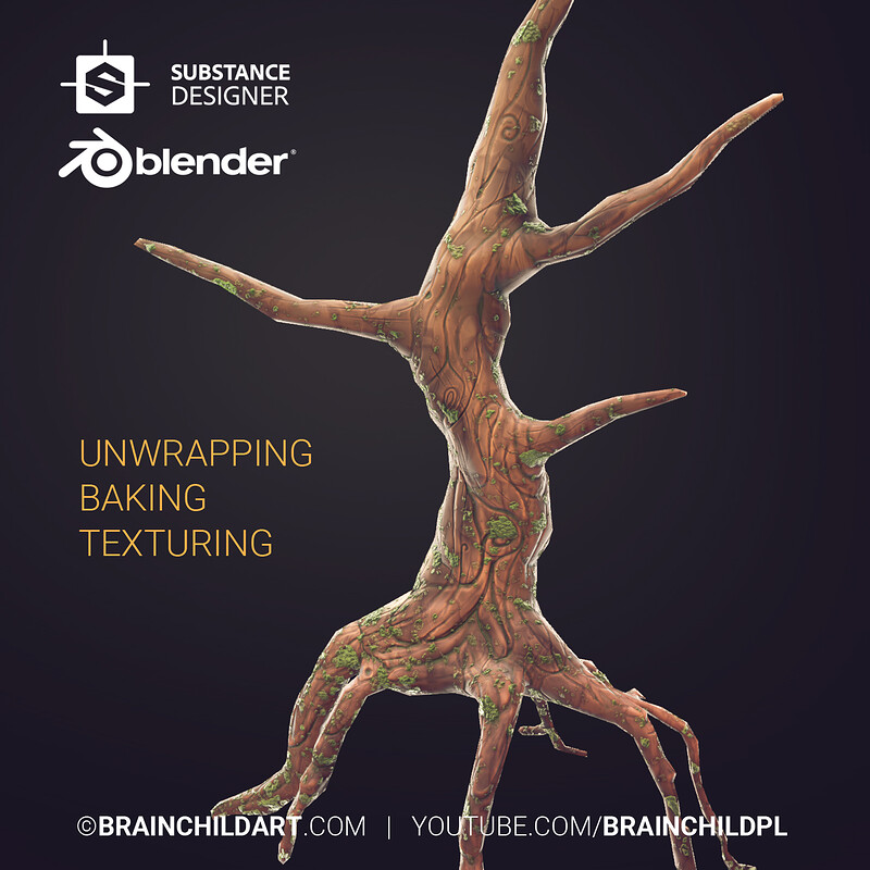 (Blender & Substance Designer Videos) Lowpoly 3d Game Art, 3d Low poly Weapon, Texturing Tree Trunk