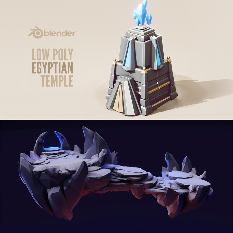 (3 Process Videos) 3d Lowpoly Game Art in Blender 3d | Low poly Illustration 3d | Stylised Art