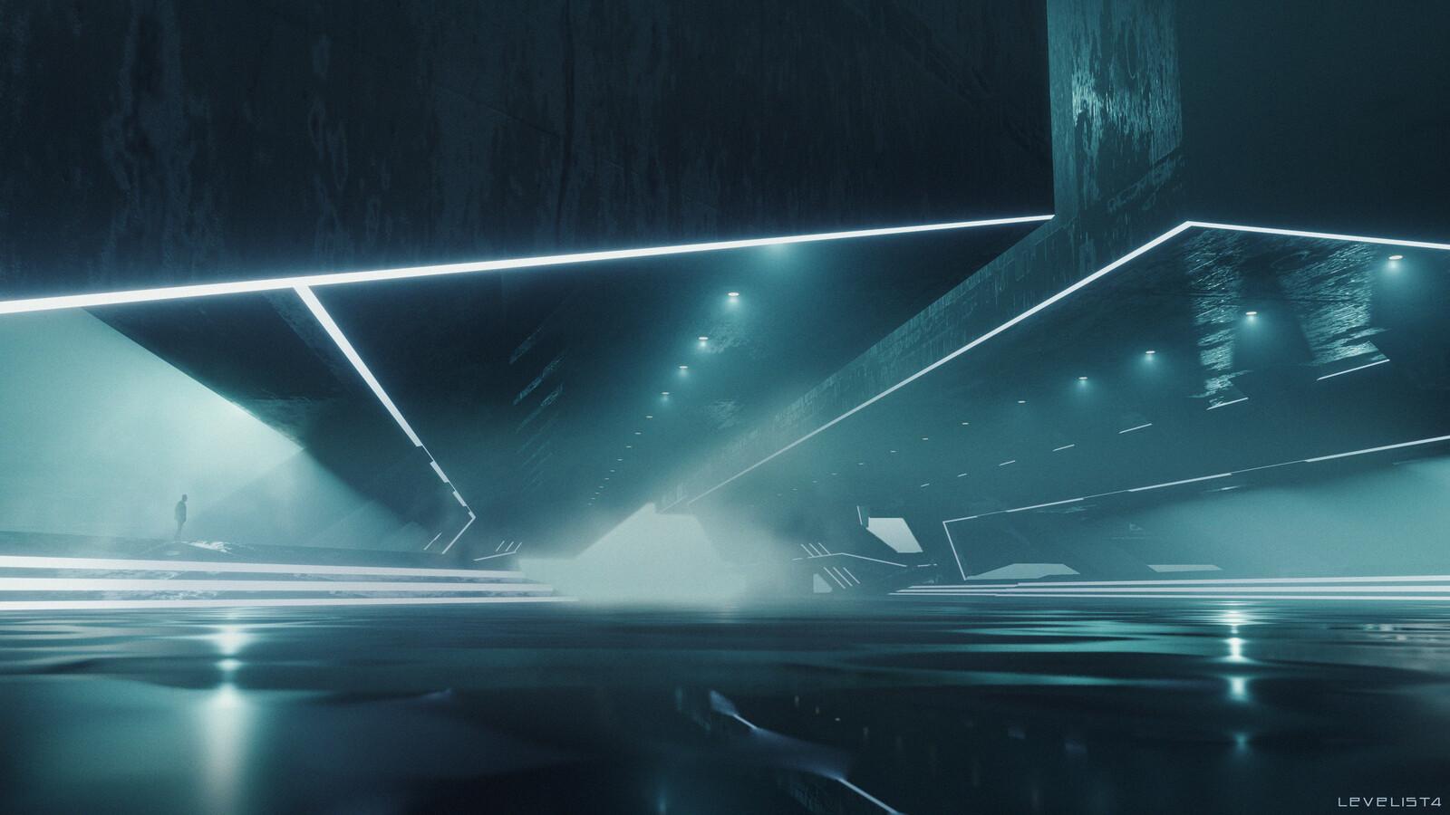 sci-fi  brutalist hall