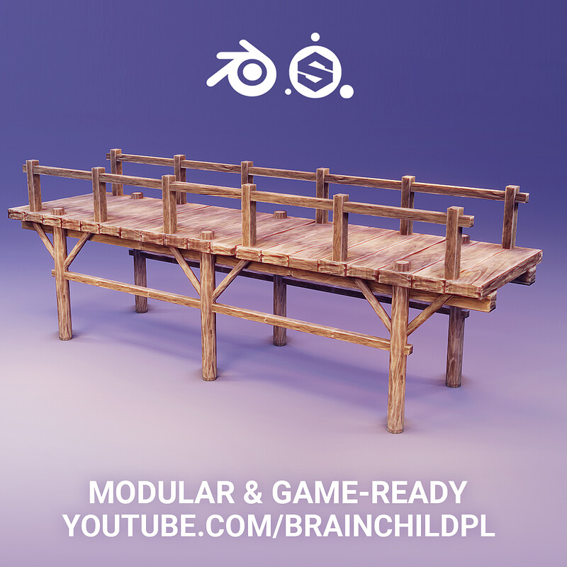 MODULAR Game-Ready Assets - FULL PROCESS  ( Blender & Substance ) 3d Modular Bridge | 3d Modular Art