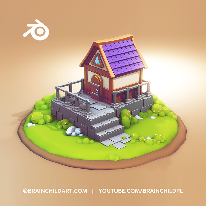 FULL PROCESS - Lowpoly Style | Flat Shaded -  Cute Hut Modeling in Blender |  Blender Speed Modeling