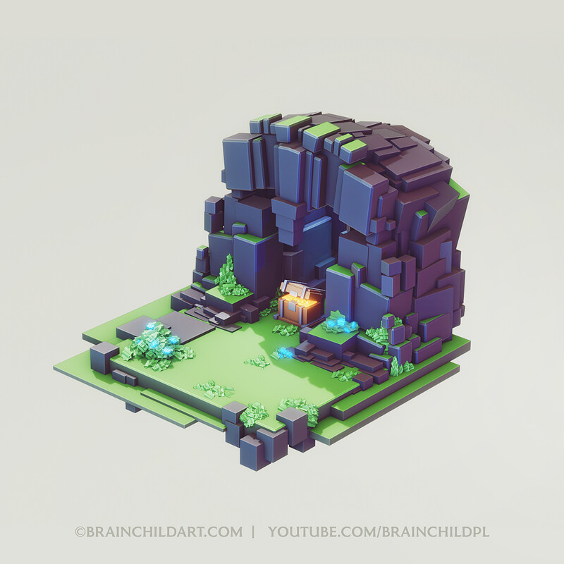 LOWPOLY Cube Worlds #7 | Flat Shading | Blender Speed Modeling | Concept Art | 3d Environment Design