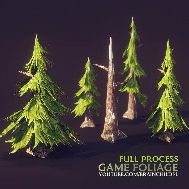Modeling & Texturing Low poly Pine Tree in BLENDER & SUBSTANCE DESIGNER | 3d Foliage for games |