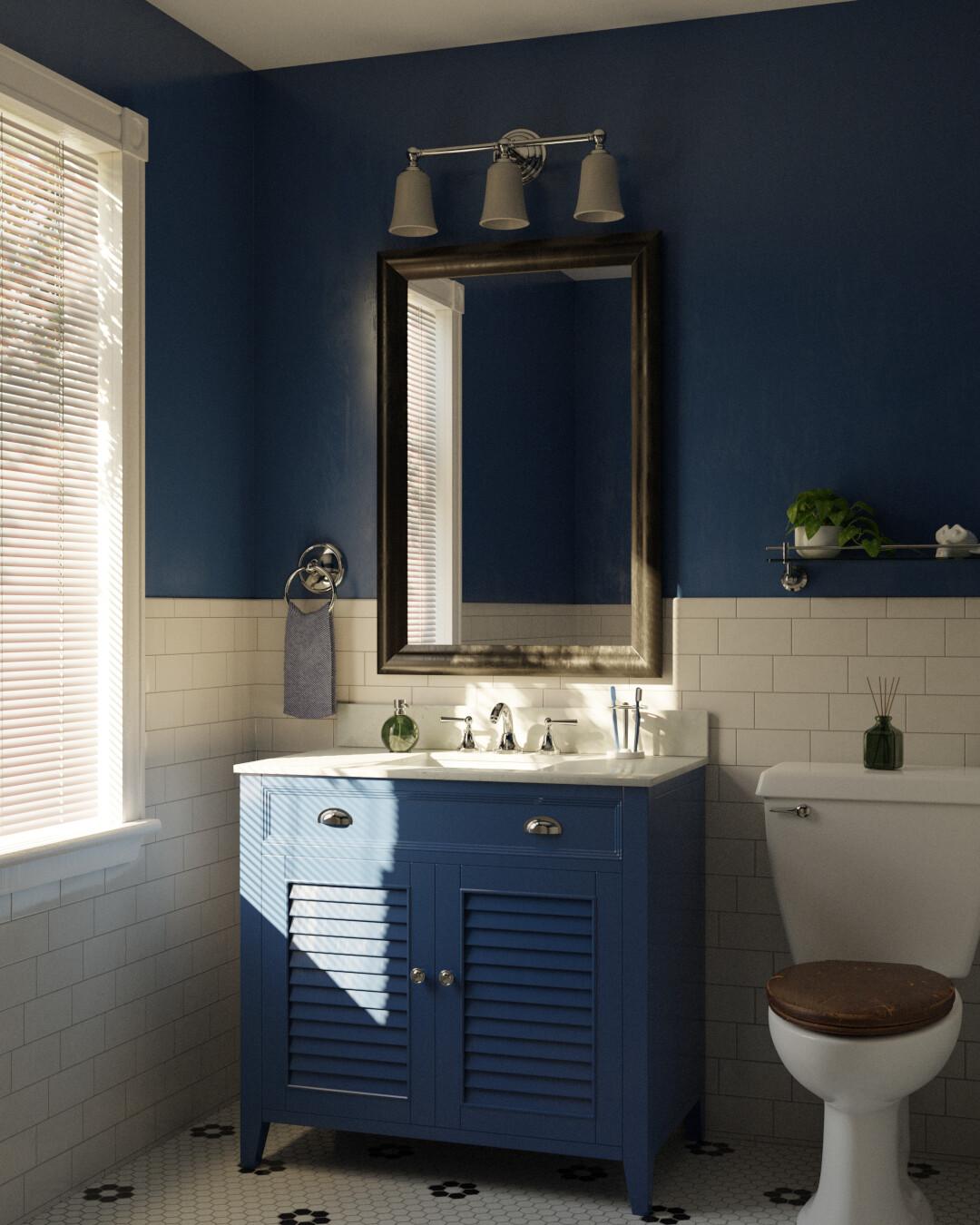 Blue Bathroom in Natural Light