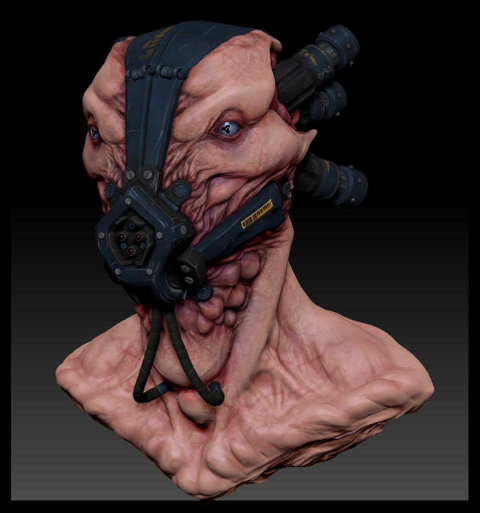 Alien Pilot Head zbrush image