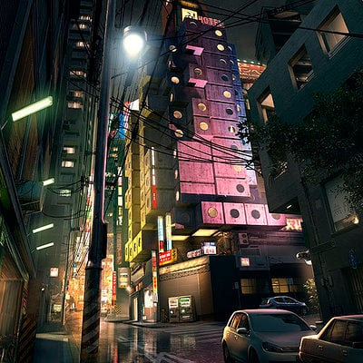 The Wolverine . Concept Art . Love Hotel Ext 02