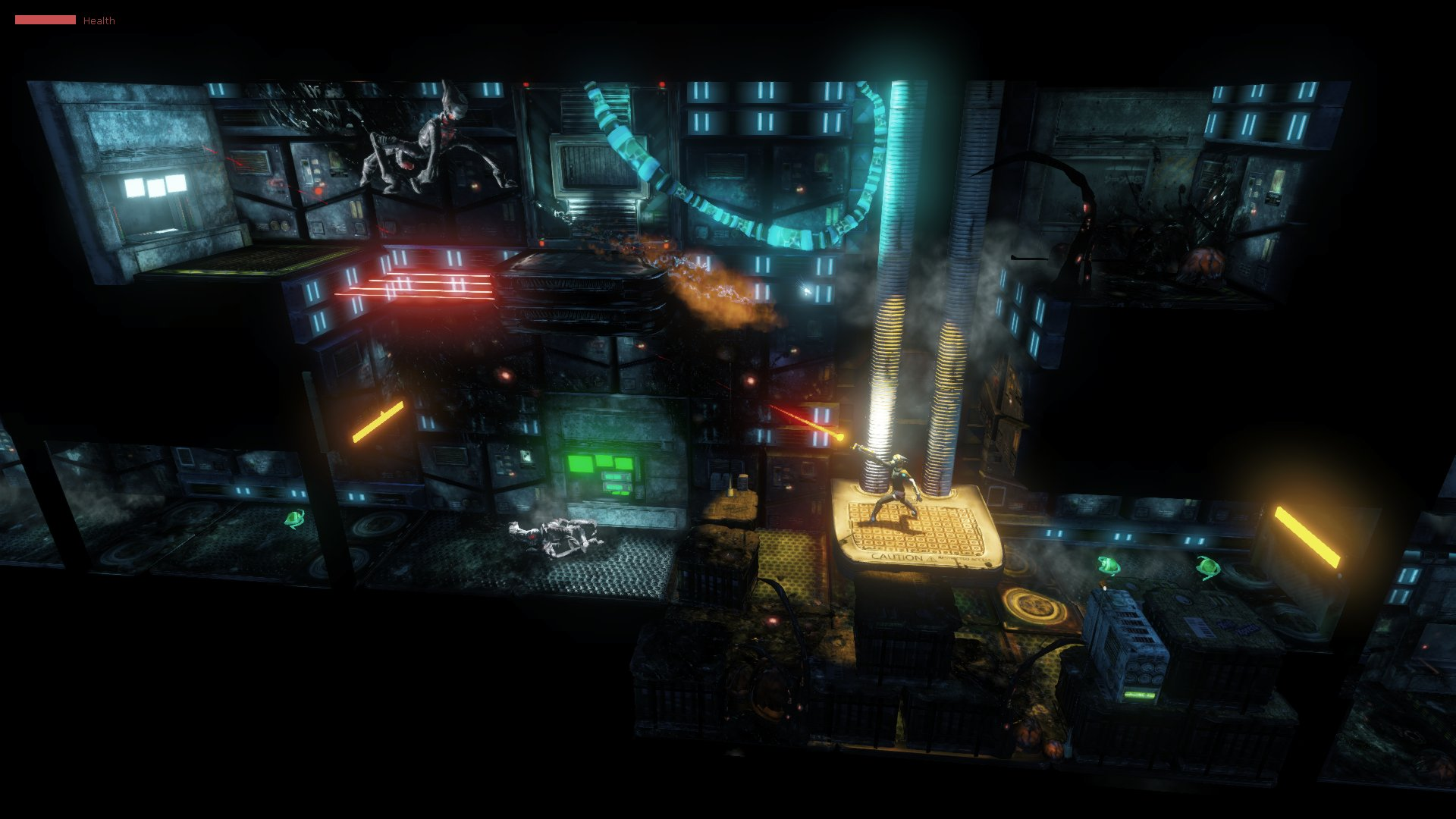 Blasting Aliens in the cyberpunk industry level.