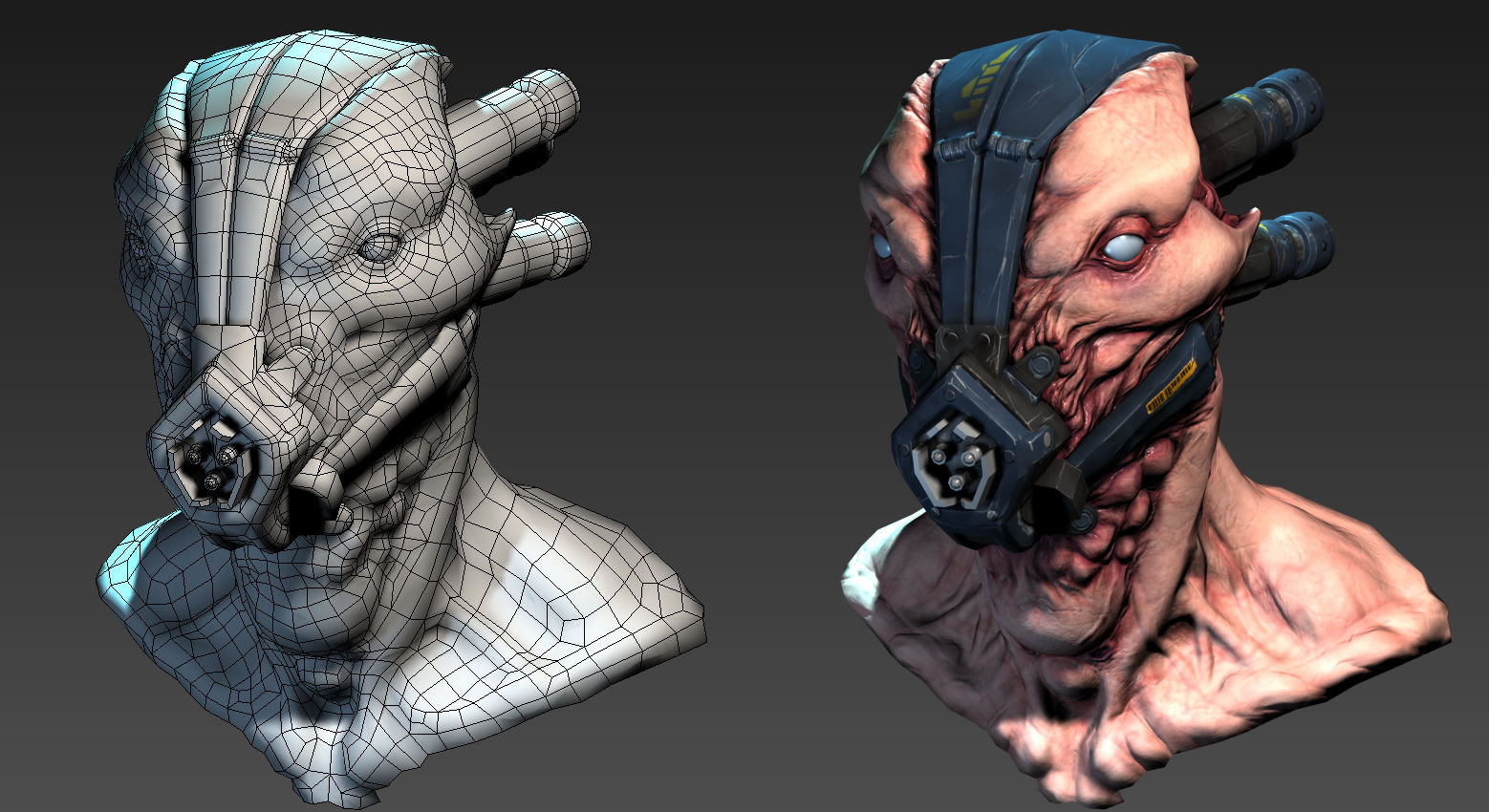 Alien Pilot head retopologized with viewport screengrab from 3dsmax.