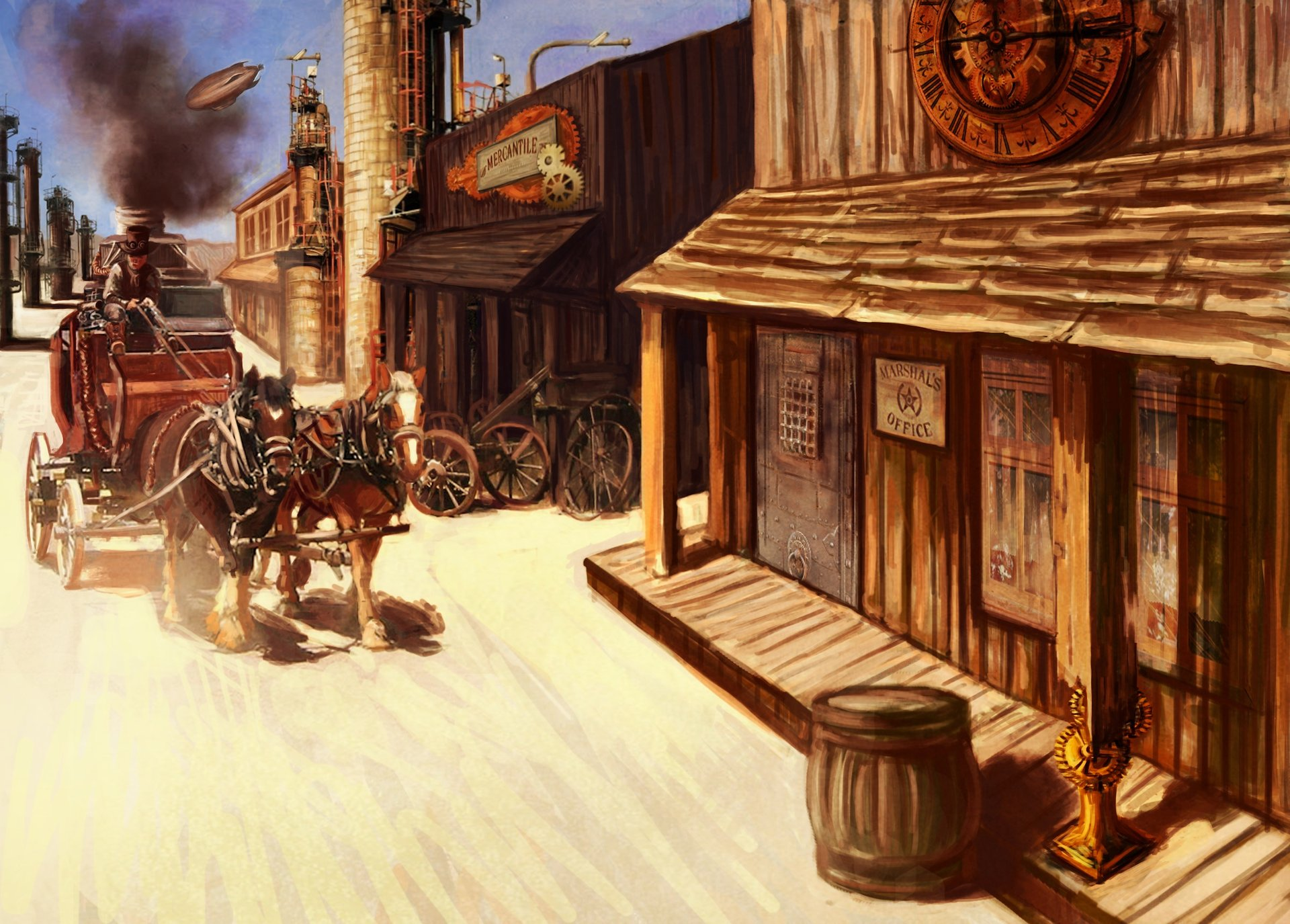 ArtStation - Steampunk Western Town, Christy Tortland