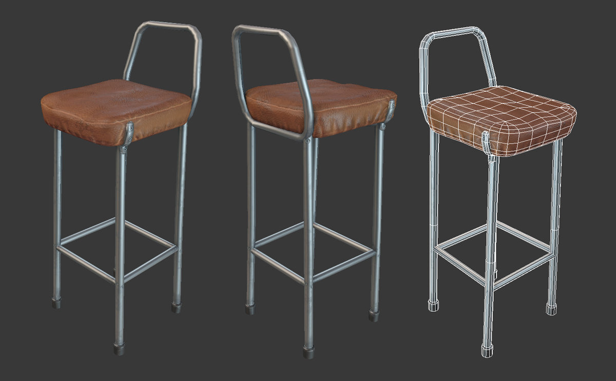 Prop stool max wireframe