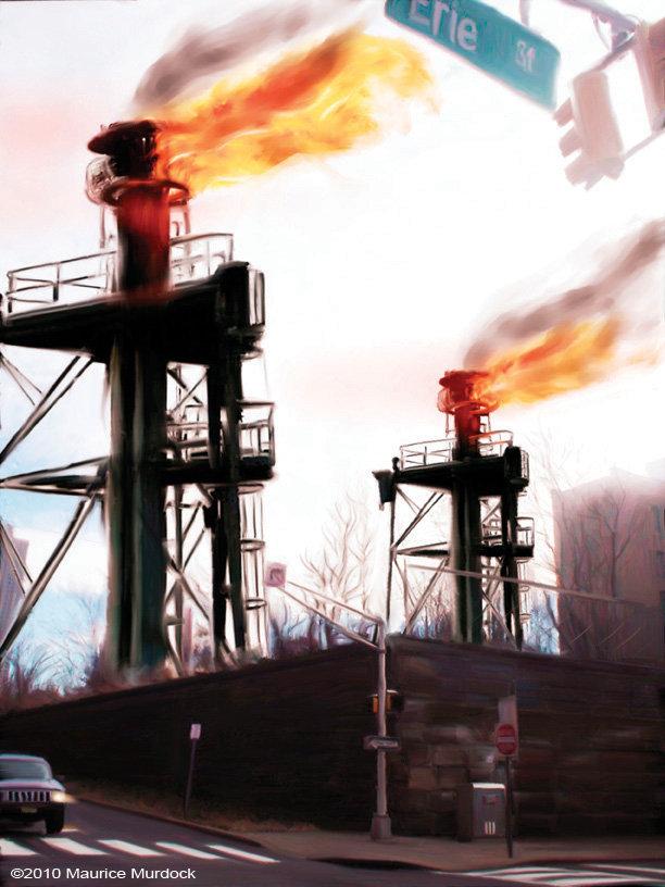 Moebocop embankment oil fields