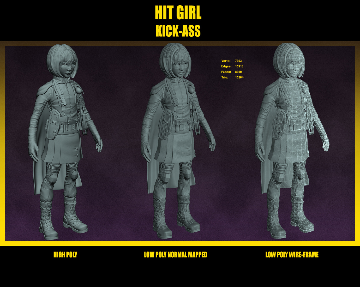 Hitgirl for web high low poly wires