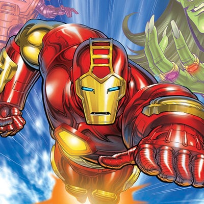 Iron man animated box art by david nakayama d2ive2k