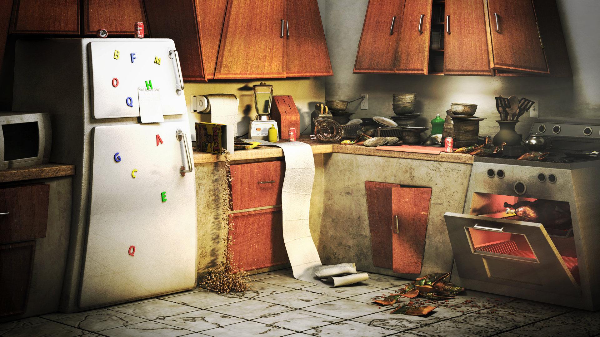 Messy Construction Kitchens : Artstation messy kitchen hunter rosenberg