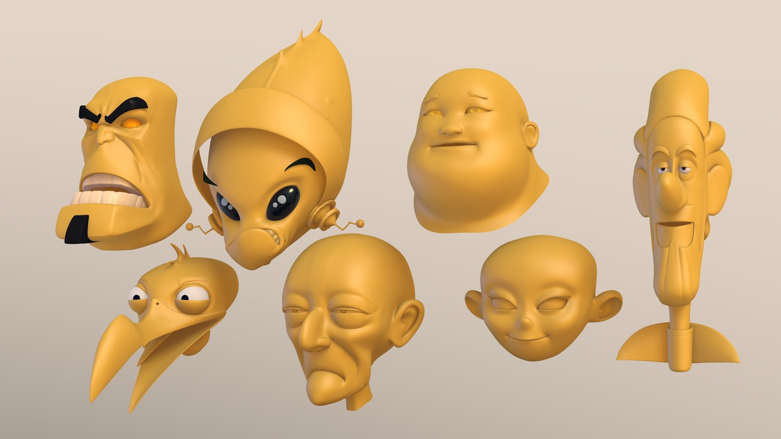 A lot of 3d heads