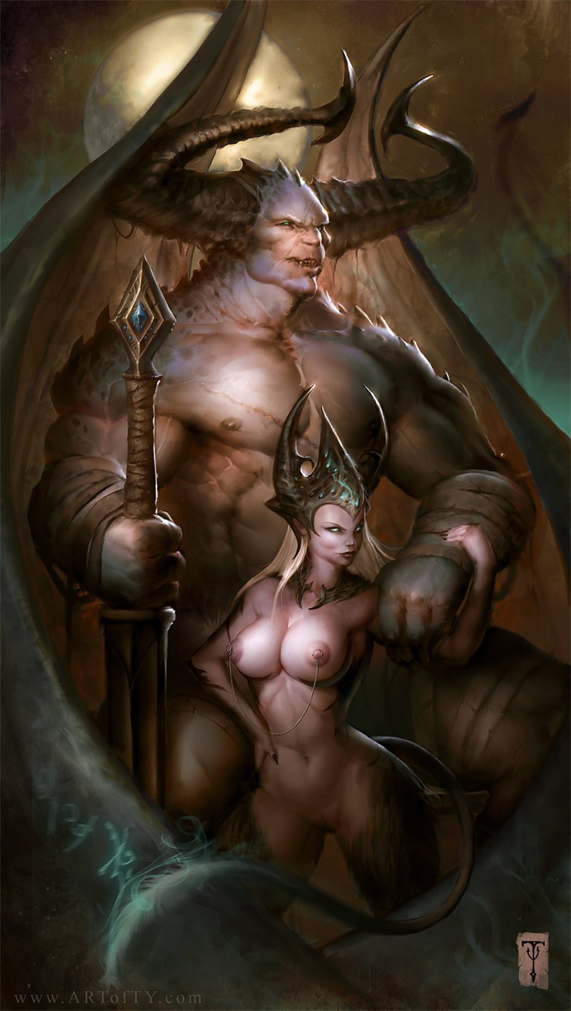 Female fantasy art topless naked pic