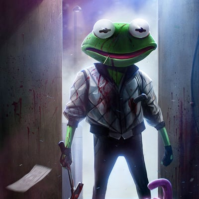 Dan luvisi kermit drive by danluvisiart d67a4ht