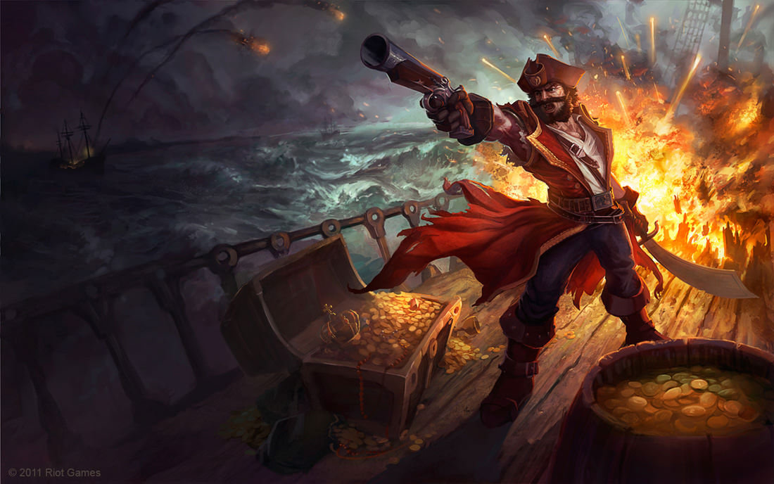 Splash Screen for Gangplank Redesign skin, done in tandem with Alex Konstad and Jon Neimeister.  (c) 2011 Riot Games