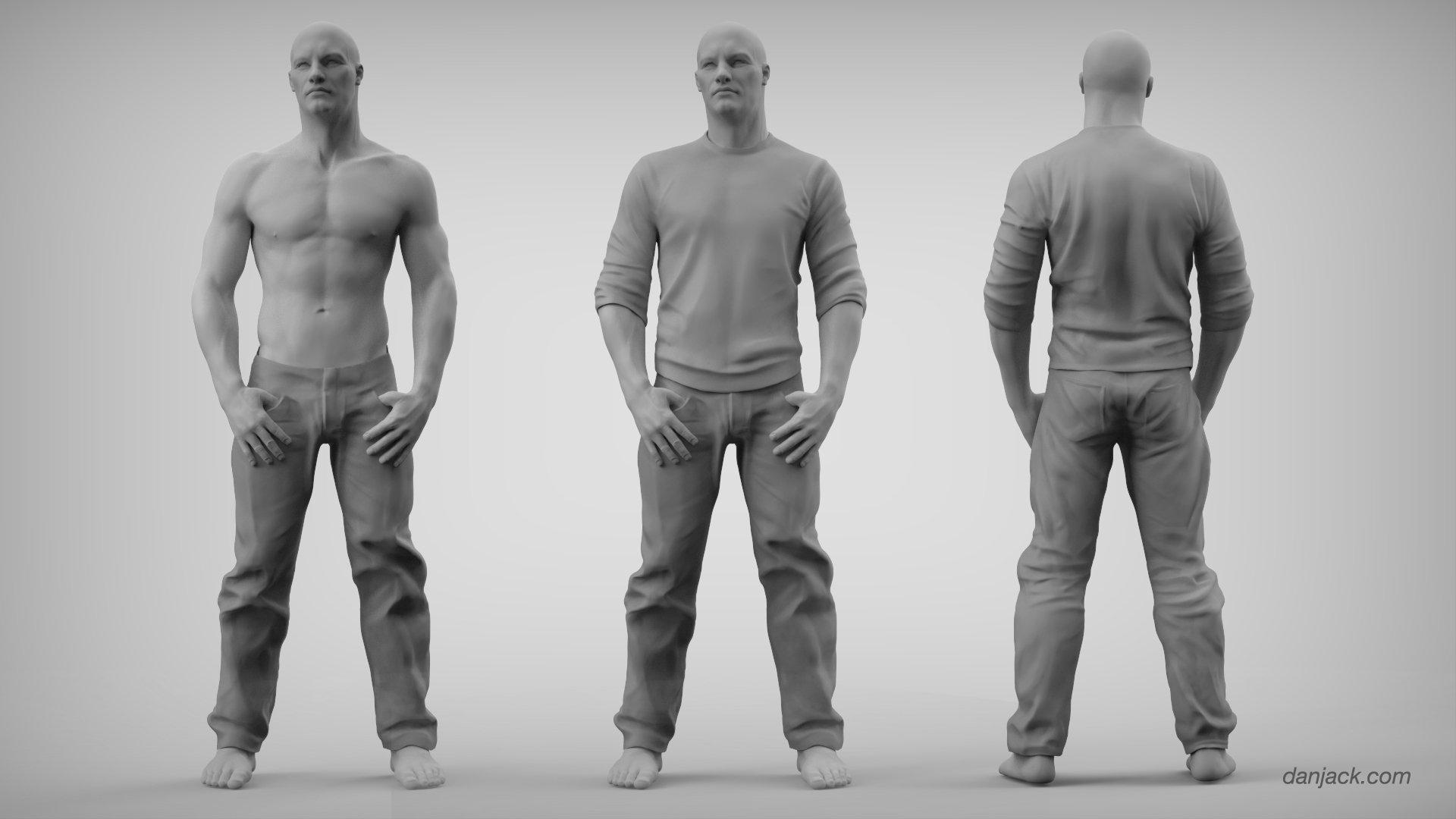 ArtStation - Male Anatomy/Fabric Study, Dan Jack