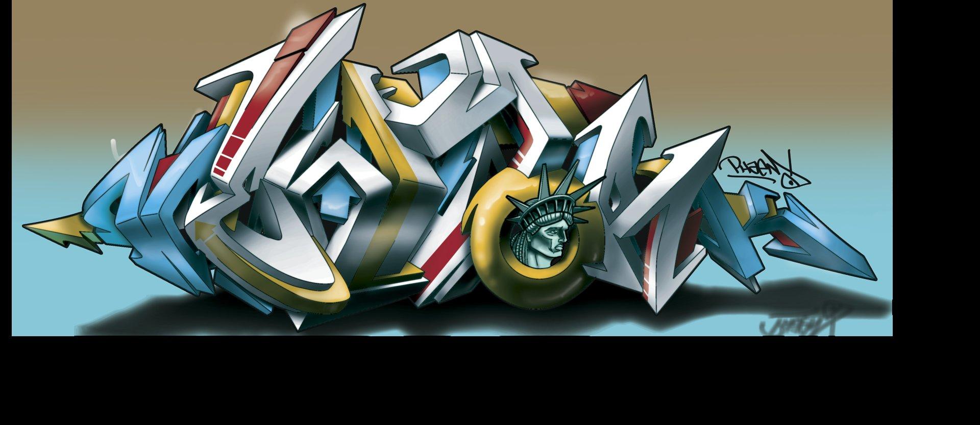 New york graffiti 3d lettering