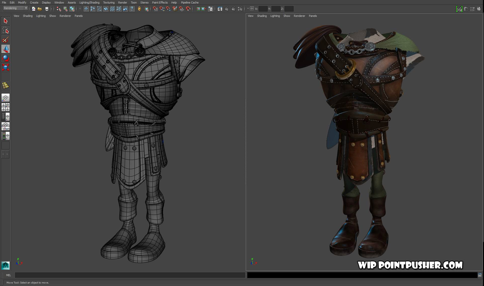 A shot of retopo and costume textures: (zbrush/maya/photoshop)