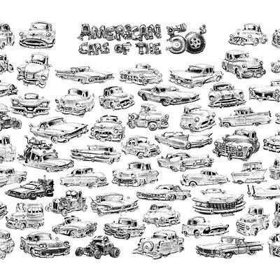 Jean brice dugait 33 car caricatures 50s jb dugait
