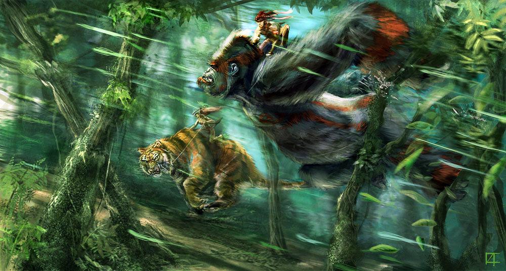 ArtStation - Gorilla vs Tiger pt1, Damian Buzugbe