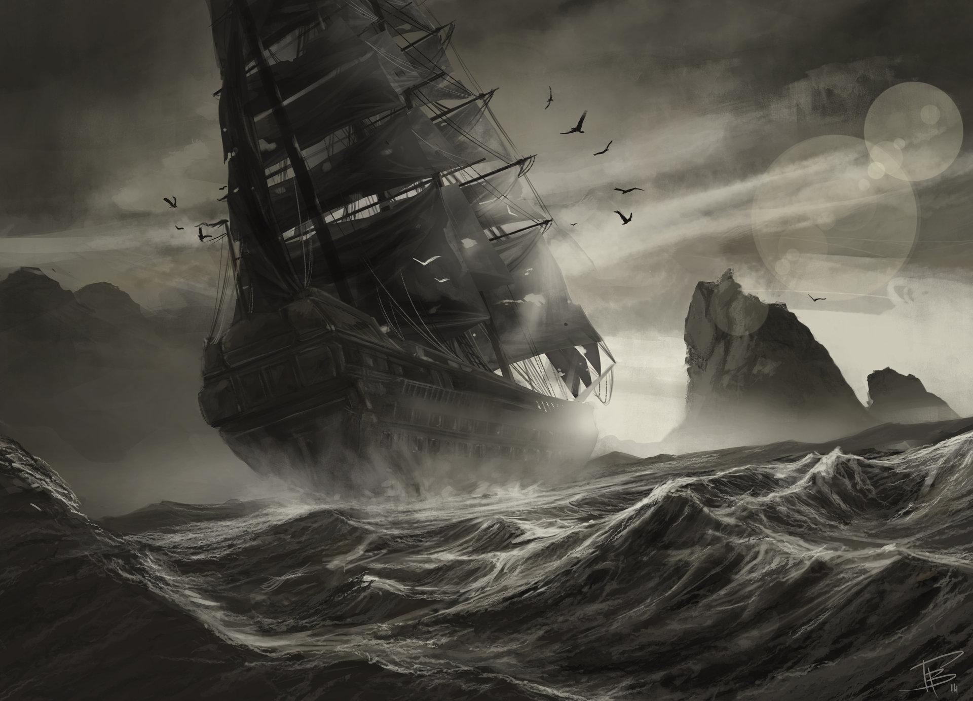 белый корабль в шторм картинки