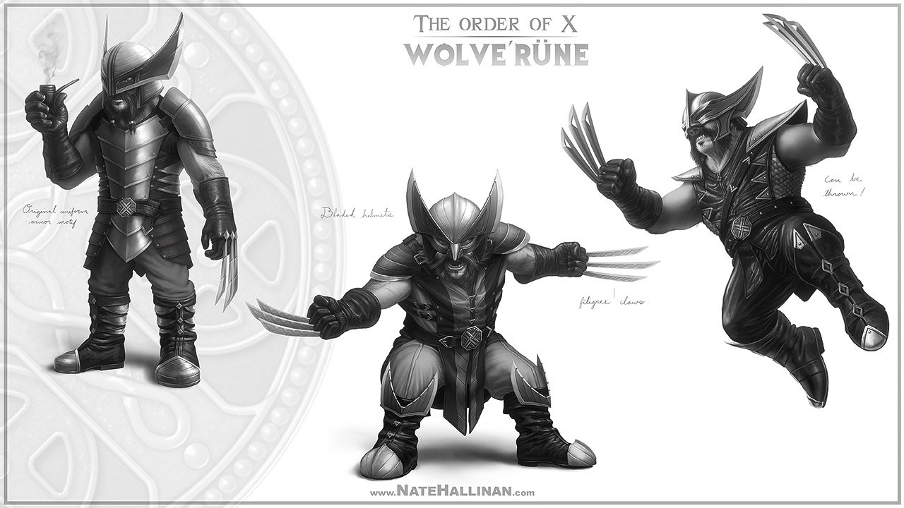 The Order of X - Wolve'rune rough concepts