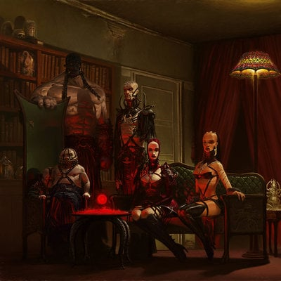 Adrian smith hell club portrait painting fin